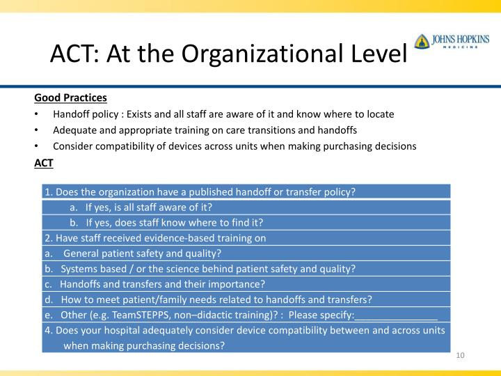 ACT: At the Organizational Level