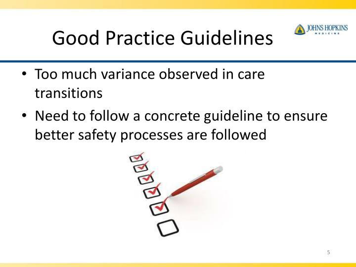 Good Practice Guidelines