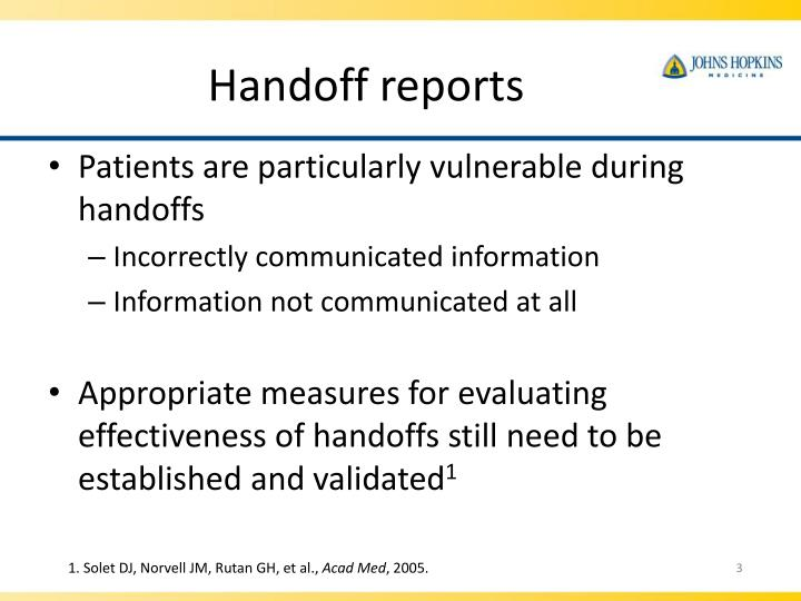 Handoff reports