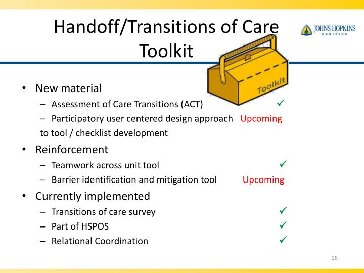 Handoff/Transitions of Care Toolkit