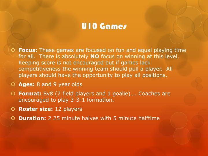 U10 Games