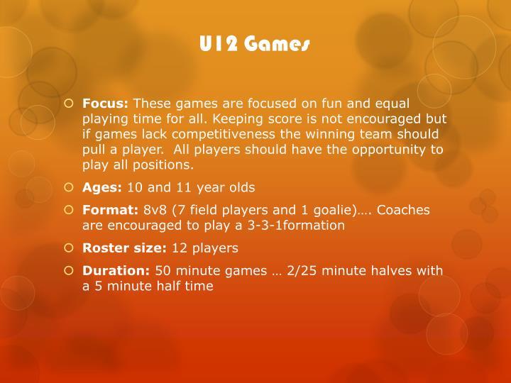 U12 Games