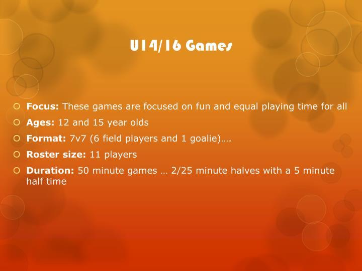 U14/16 Games