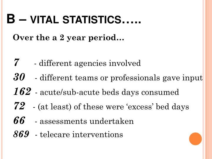 B – vital statistics…..