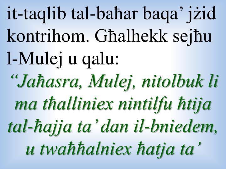 it-taqlib tal-baħar baqa' jżid