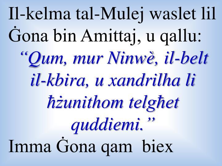 Il-kelma tal-Mulej waslet lil Ġona bin Amittaj, u qallu: