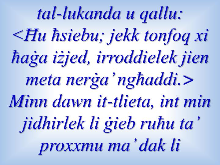 tal-lukanda u qallu: