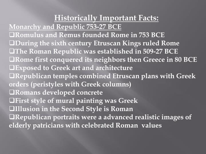 Historically Important Facts: