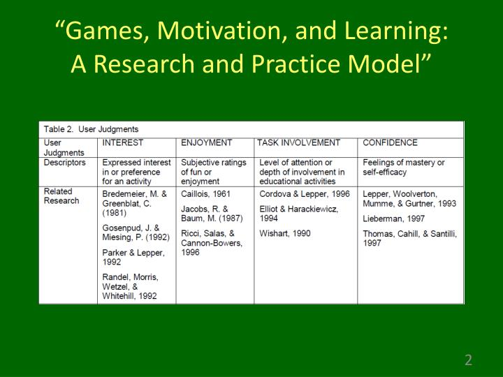 Games motivation and learning a research and practice model
