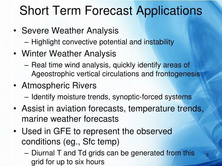 Short Term Forecast Applications