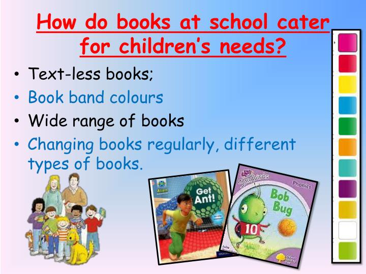 How do books at school cater for children's needs?