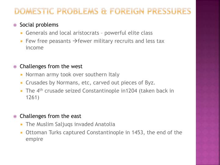 Domestic Problems & Foreign Pressures