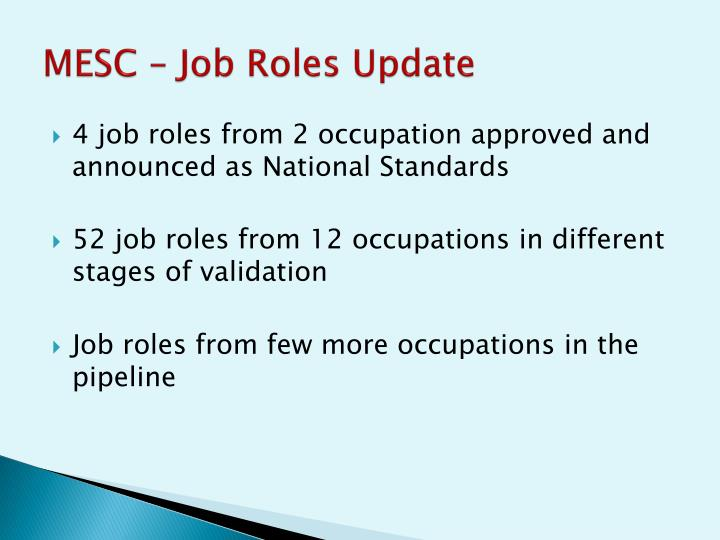 MESC – Job Roles Update