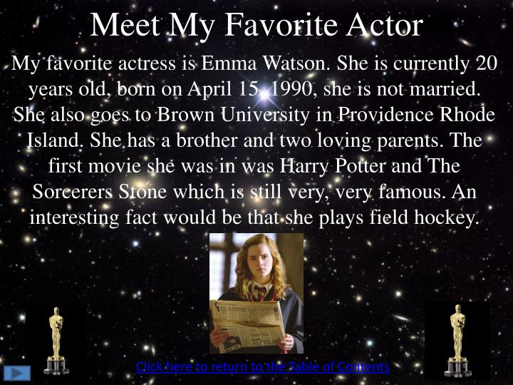 Meet My Favorite Actor