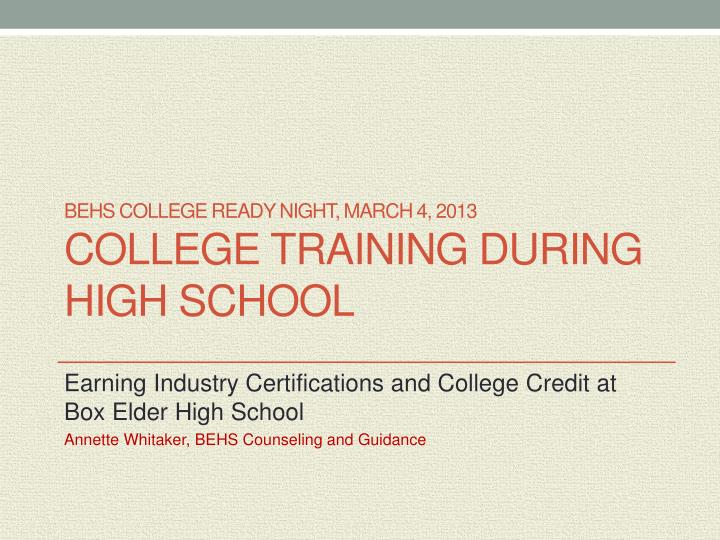 BEHS College Ready Night, March 4, 2013