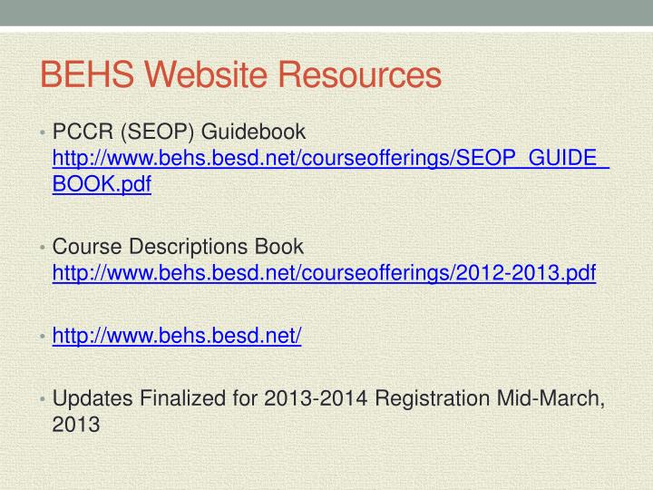 BEHS Website Resources