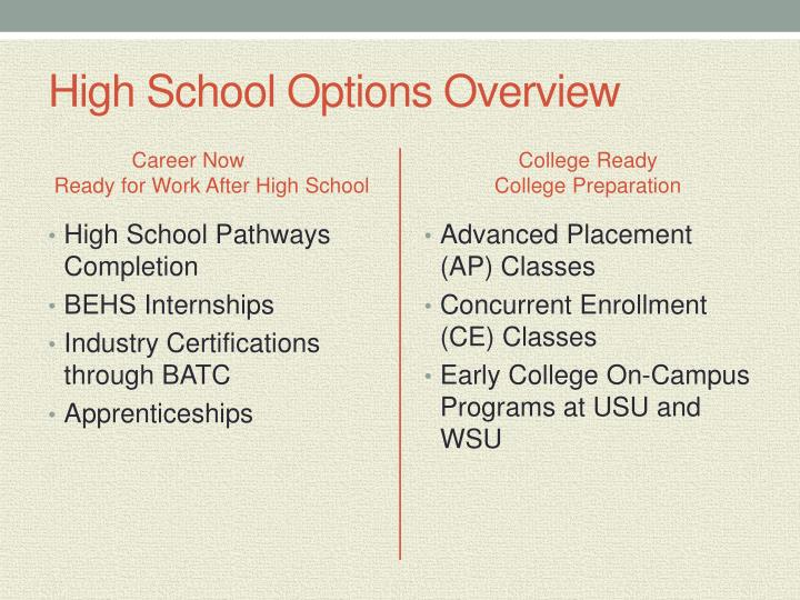 High School Options Overview