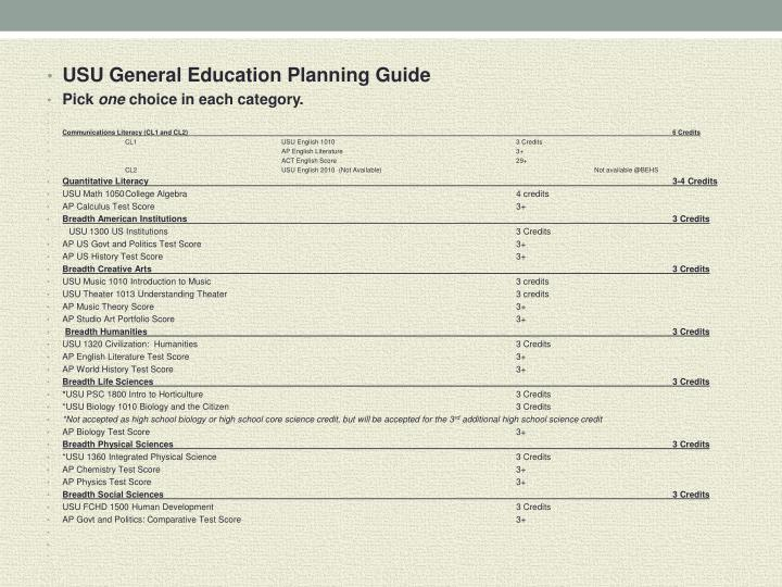 USU General Education Planning