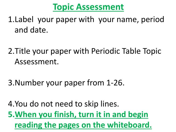 Topic Assessment