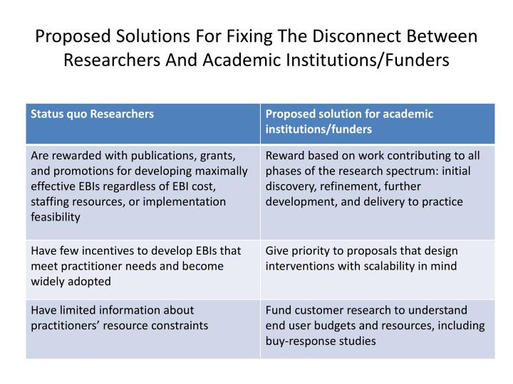 Proposed Solutions For Fixing The Disconnect Between Researchers And Academic Institutions/Funders