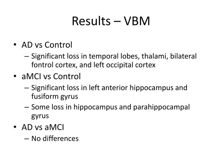Results – VBM