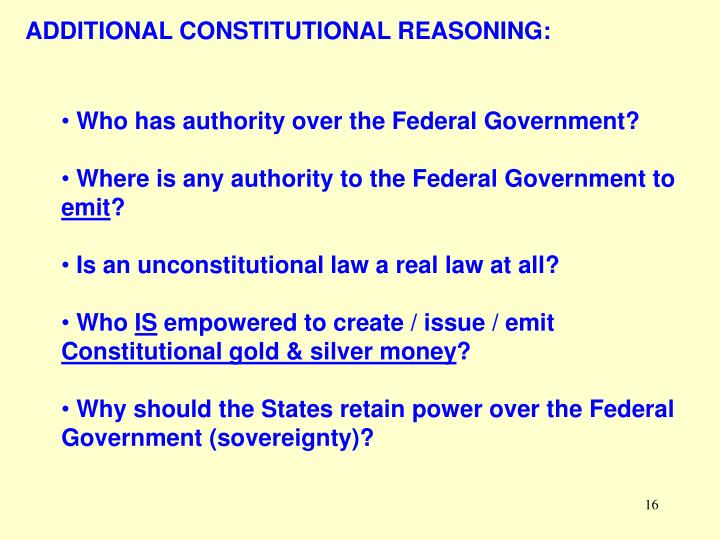ADDITIONAL CONSTITUTIONAL