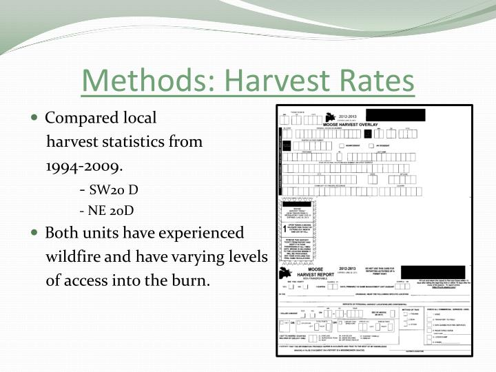 Methods: Harvest Rates