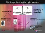 challenge getting the right balance
