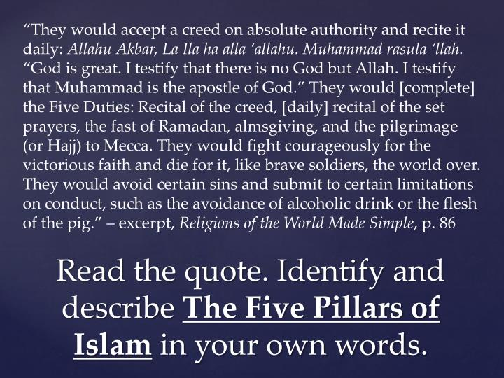 """They would accept a creed on absolute authority and recite it daily:"
