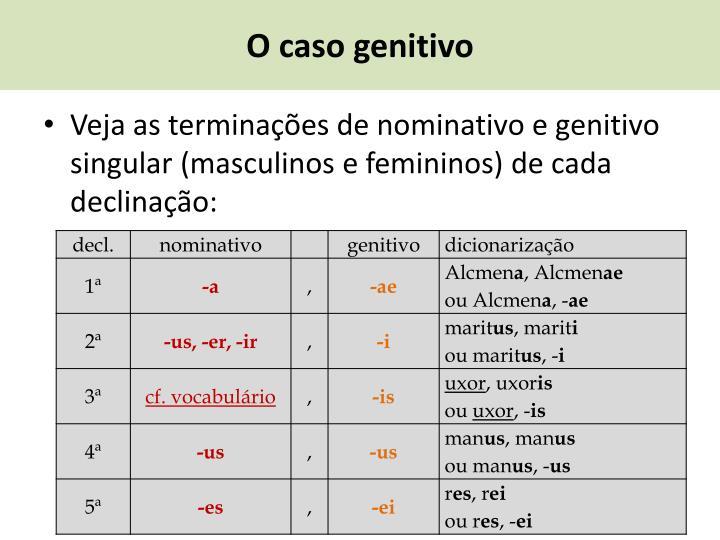 O caso genitivo