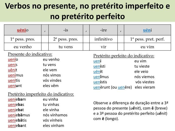 Verbos no presente, no pretérito imperfeito e no pretérito perfeito