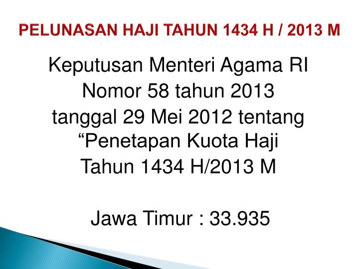 PELUNASAN HAJI TAHUN 1434 H / 2013 M