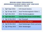 rencana jadwal perjalanan haji berdasarkan kalender ummul quro arab saudi tahun1434 h 2013 m