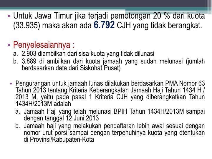 Untuk Jawa Timur jika terjadi pemotongan 20 % dari kuota