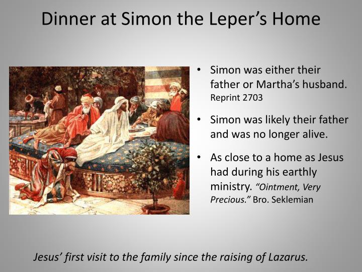 Dinner at Simon the Leper's Home