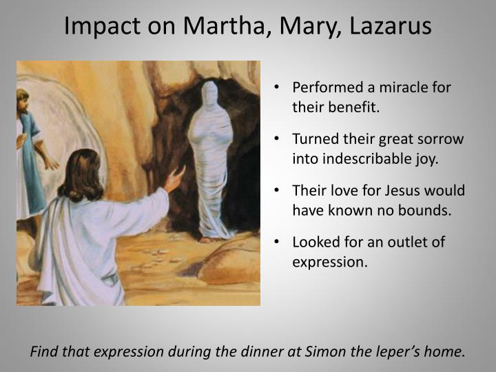 Impact on Martha, Mary, Lazarus