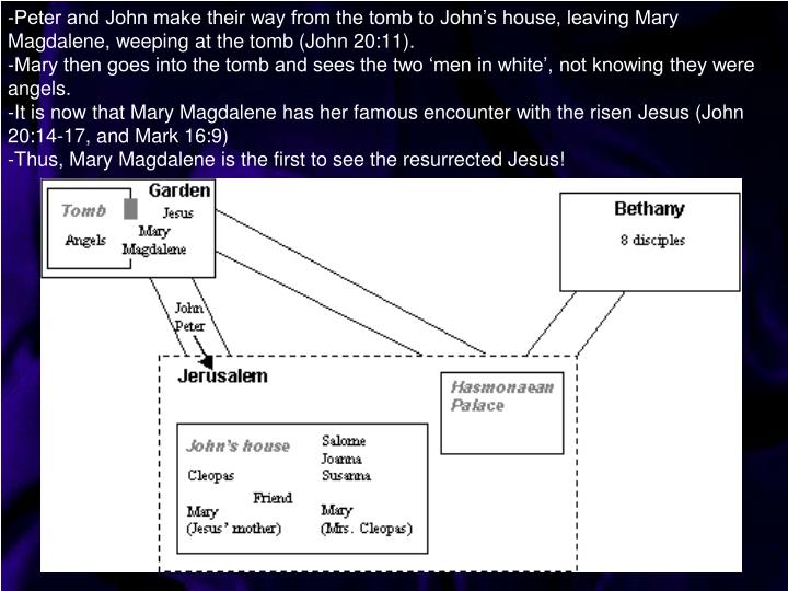 -Peter and John make their way from the tomb to John's house, leaving Mary Magdalene, weeping at the tomb (John 20:11).