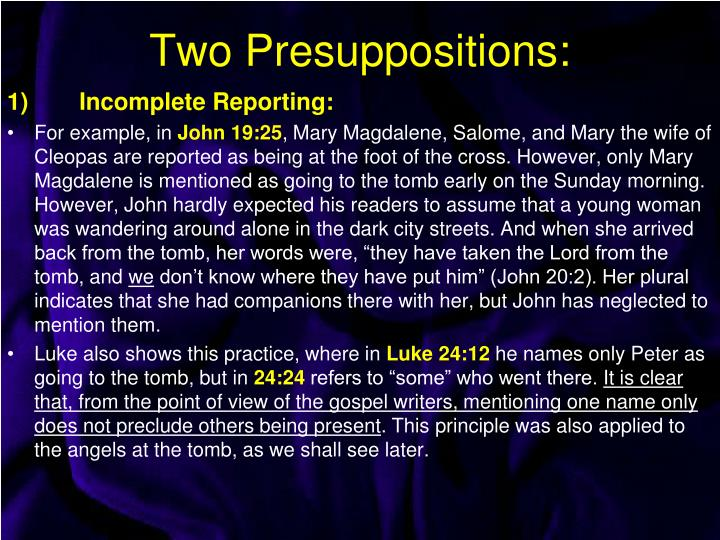 Two Presuppositions:
