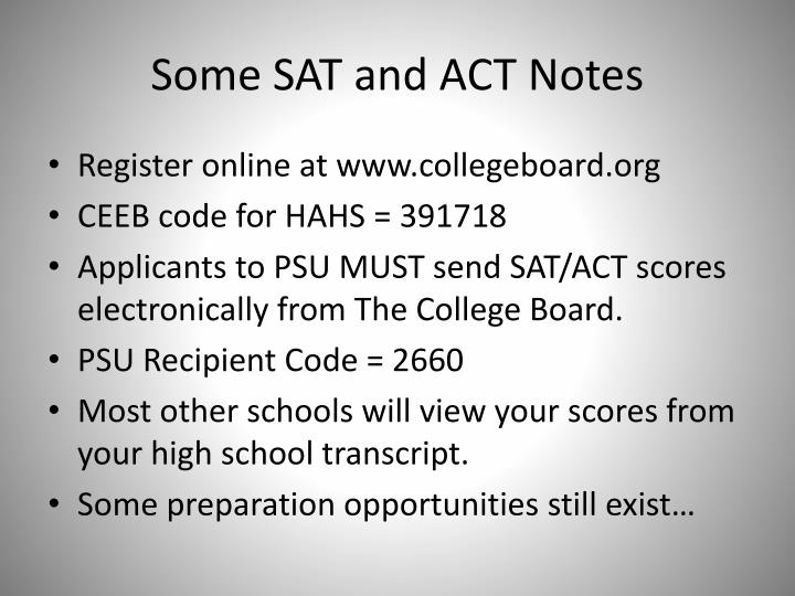 Some SAT and ACT Notes