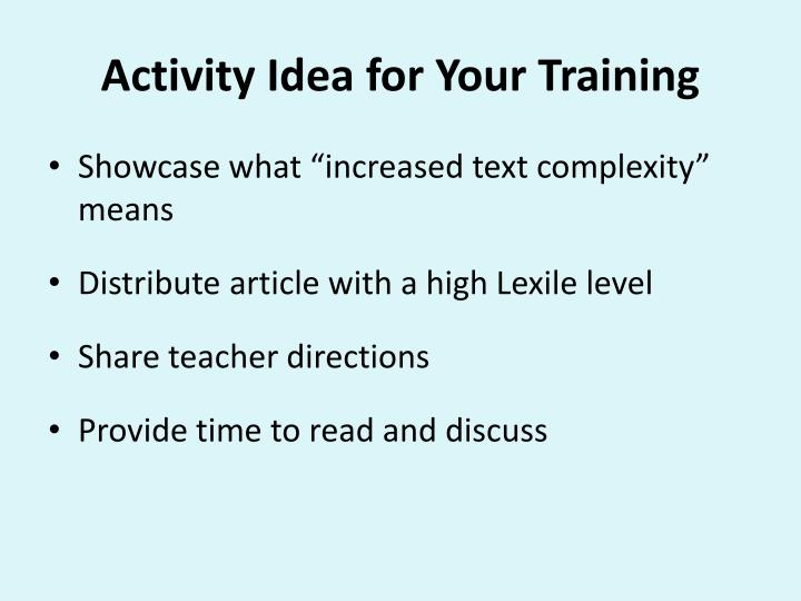 Activity Idea for Your Training