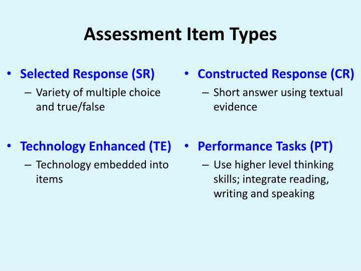 Assessment Item Types