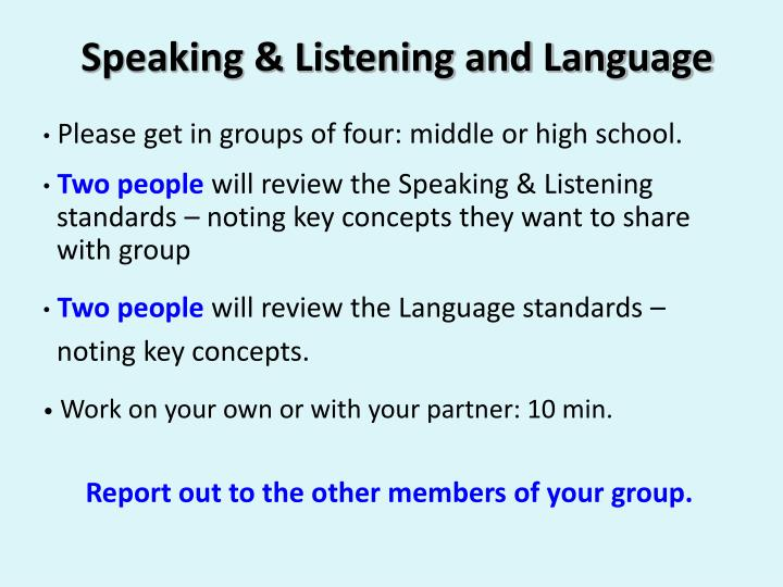 Speaking & Listening and Language