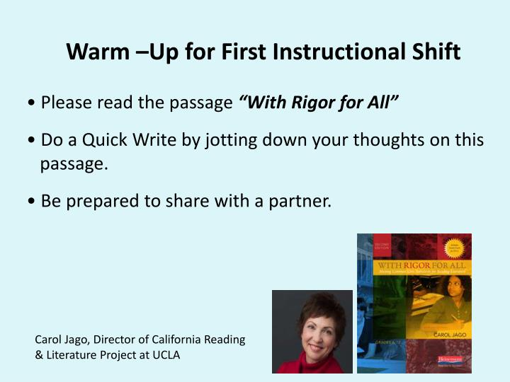 Warm –Up for First Instructional Shift