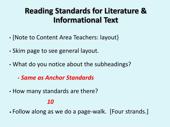 Reading Standards for
