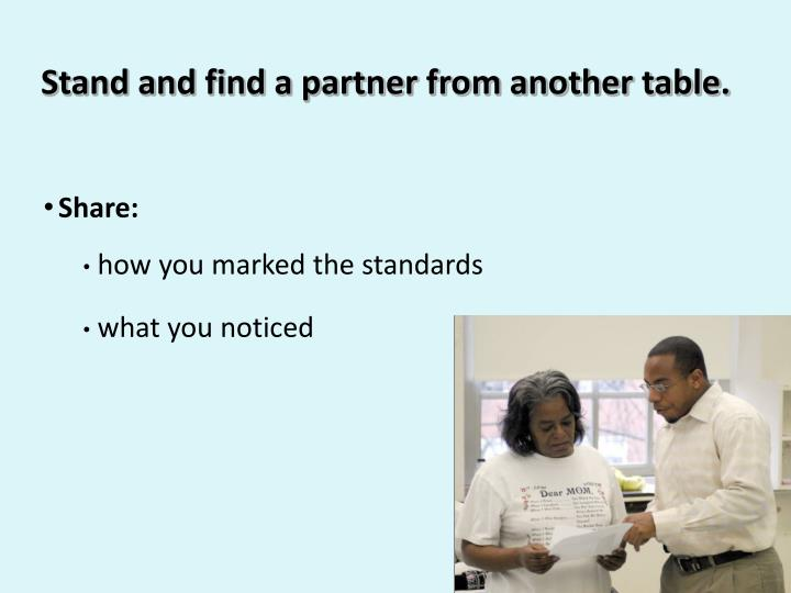 Stand and find a partner from another table.