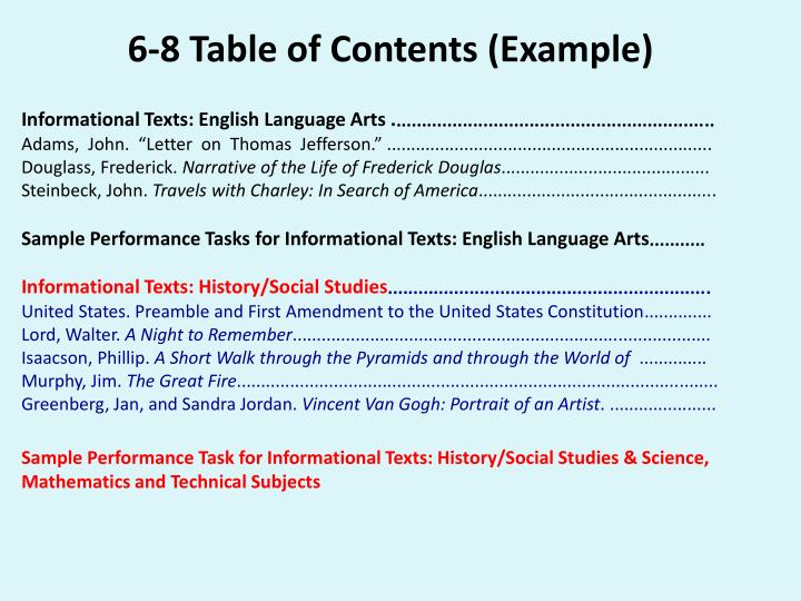 6-8 Table of Contents (Example)