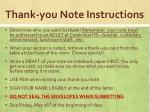 thank you note instructions