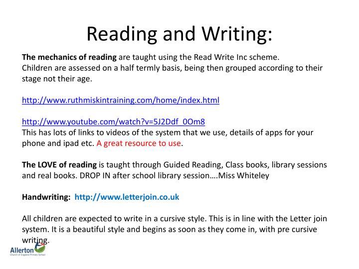 Reading and Writing: