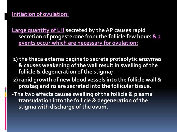 Initiation of ovulation:
