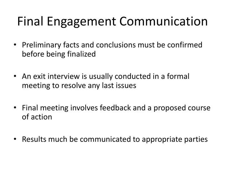 Final Engagement Communication
